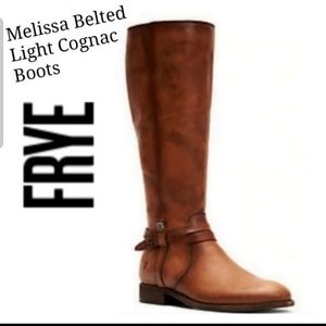 Frye Melissa Belted Tall Leather Boots Light Cogna
